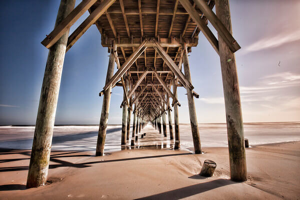 Wedding location under the surf city pier on topsail island nc